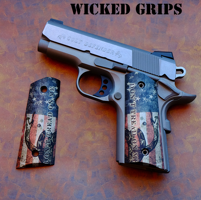 Custom 1911 Officers Grips Dont Tread On Me Flag Wicked Grips