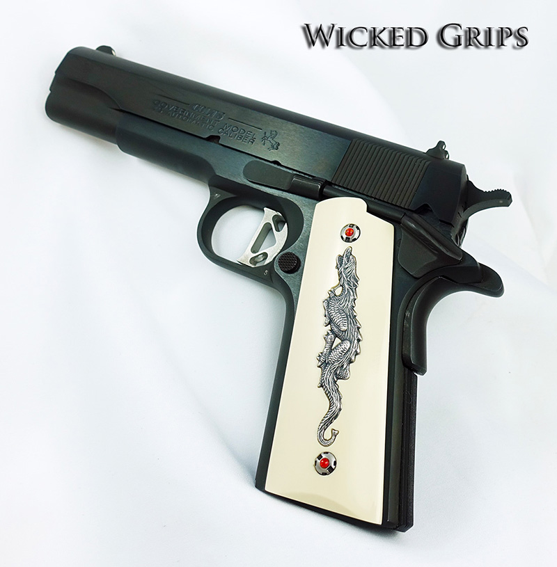 1911 PISTOL GRIPS DRAGON ANNIVERSARY SERIES REPLICATED IVORY