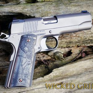 CUSTOM 1911 PISTOL GRIPS STAINLESS STEEL DEATH TAROT