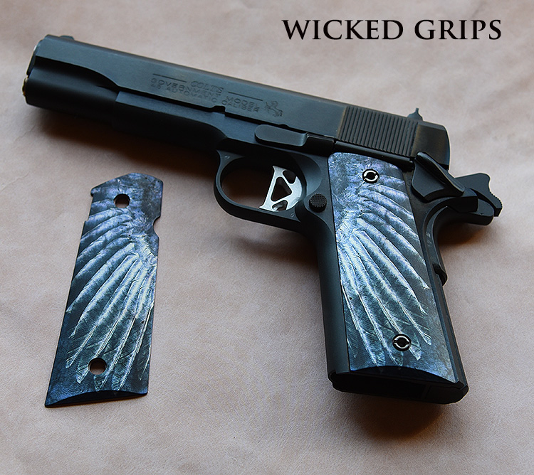 Custom 1911 Thin Grips Quot Wing Quot Wicked Grips Custom