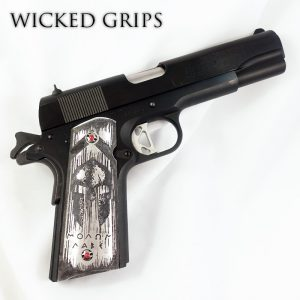 CUSTOM 1911 PISTOL GRIPS DEEP ENGRAVED MOLON LABE BLACK WASH