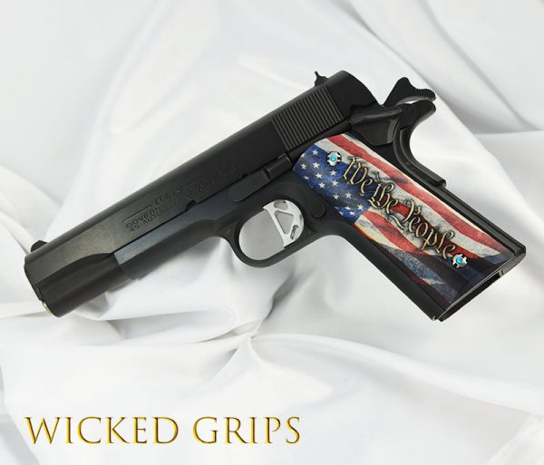 CUSTOM 1911 GRIPS AMERICAN FLAG WE THE PEOPLE VERSION 4