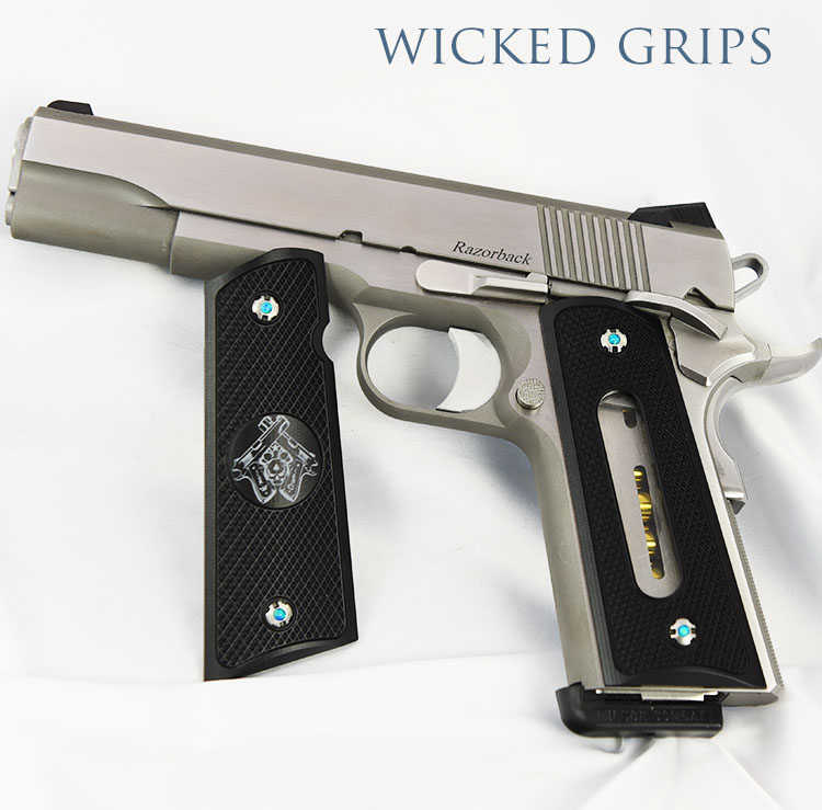 CUSTOM WINDOWED 1911 PISTOL GRIPS WICKED GRIPS LOGO