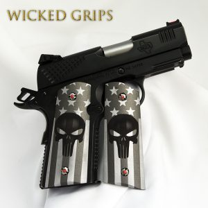 1911 OFFICERS COMPACT GRIPS AMERICAN FLAG PUNISHER CERAKOTE
