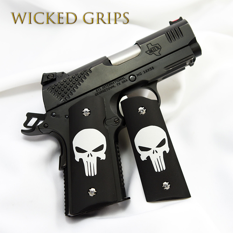 1911 OFFICERS COMPACT GRIPS CLASSIC PUNISHER CERAKOTE