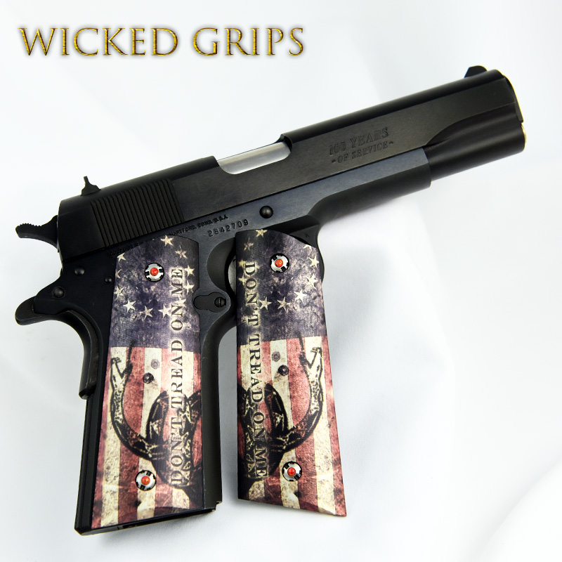 Custom 1911 Grips Graphic Art Quot Dont Tread On Me Quot Wicked