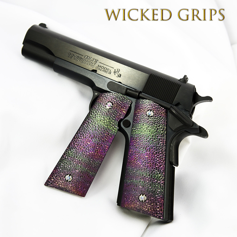custom-1911-grips-oil-slick-rayskin