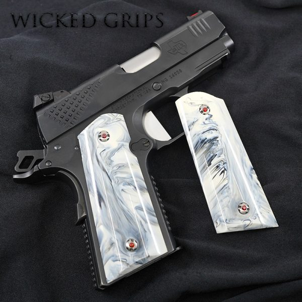 1911 OFFICERS MODEL COMPACT GRIPS REPLICATED WHITE BUFFALO