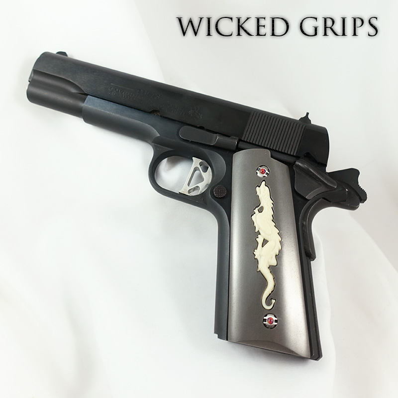 CUSTOM 1911 PISTOL GRIPS DRAGON ANNIVERSARY SERIES STEEL AND IVORY