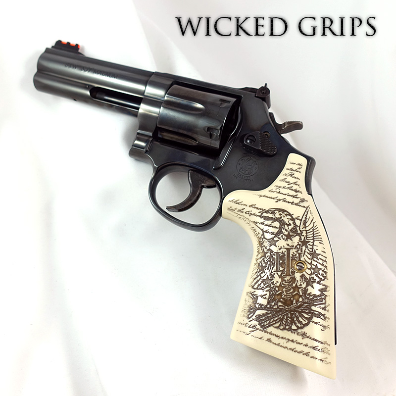 S&W K L AND X FRAME REVOLVER GRIPS REPLICATED IVORY 3% EAGLE