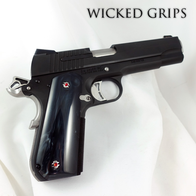 SIG SAUER 1911 ROUND BUTT PISTOL GRIPS REPLICATED BUFFALO HORN
