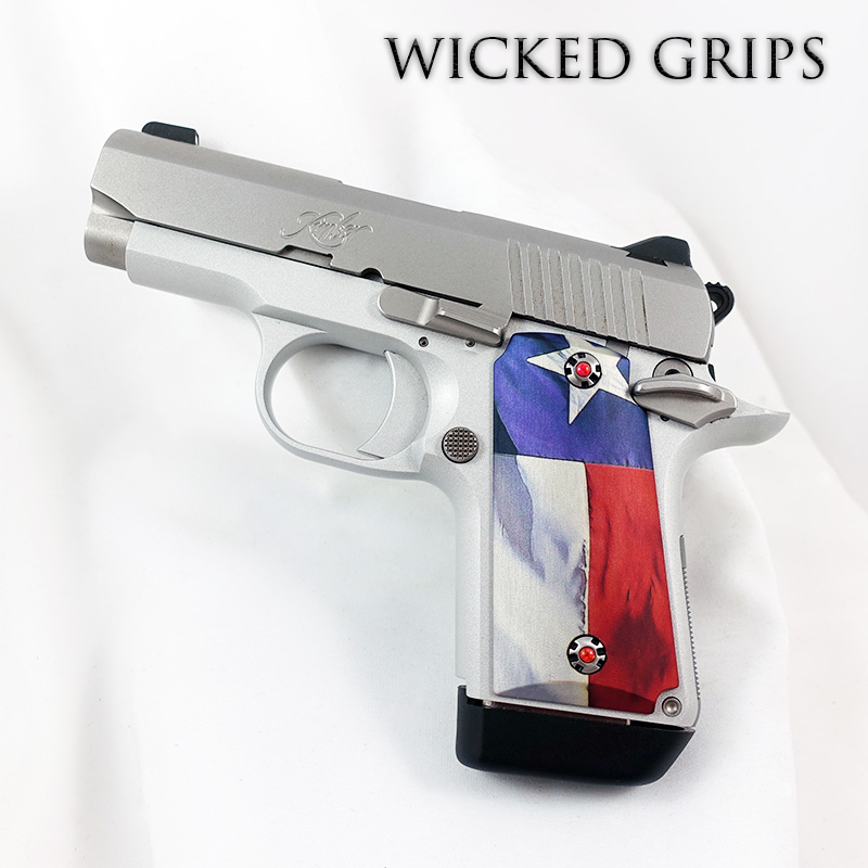 KIMBER MICRO 9MM CUSTOM PISTOL GRIPS TEXAS FLAG V2