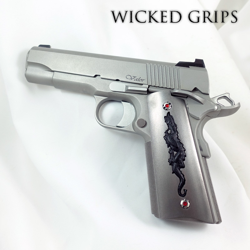 CUSTOM 1911 PISTOL GRIPS DRAGON ANNIVERSARY SERIES STEEL AND REPLICATED BUFFALO