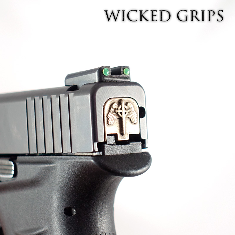 WICKED GRIPS REAR SLIDE PLATE FOR GLOCK 43, 43x, 48- GOTHIC CROSS