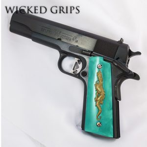 1911 PISTOL GRIPS DRAGON ANNIVERSARY SERIES REPLICATED JADE