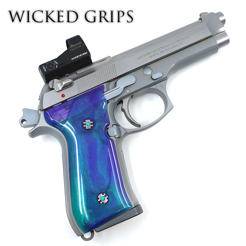 BERETTA 92FS PISTOL GUN GRIPS ARTIST SERIES AURORA