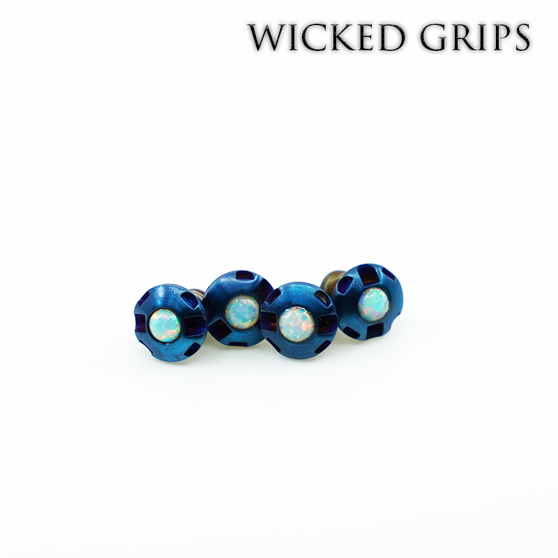 1911 Custom Grip Screws Gemstone-BLUE PVD