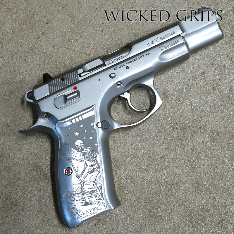 CUSTOM CZ 75 PISTOL GRIPS ENGRAVED DEATH TAROT