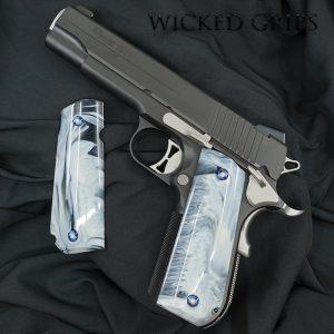 1911 ROUND BUTT GUN GRIPS REPLICATED WHITE BUFFALO HORN