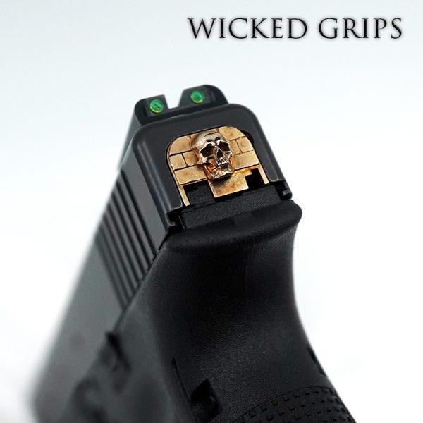 WICKED GRIPS GLOCK SLIDE PLATE PURE BRONZE SKULL GEN 1-4