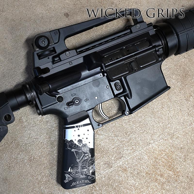 CUSTOM AR-15 PISTOL GRIP BLACK DEATH TAROT