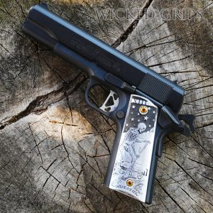CUSTOM 1911 PISTOL GRIPS DEEP ENGRAVED DEATH TAROT