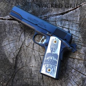 CUSTOM 1911 PISTOL GRIPS ENGRAVED REX NOCTEM NIGHT KING