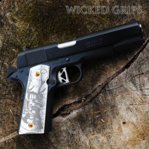 CUSTOM 1911 PISTOL GRIPS ENGRAVED MOON SHADOW SAMURAI