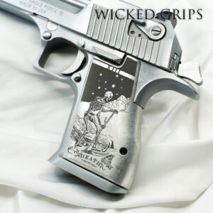 CUSTOM DESERT EAGLE PISTOL GRIPS ENGRAVED DEATH TAROT