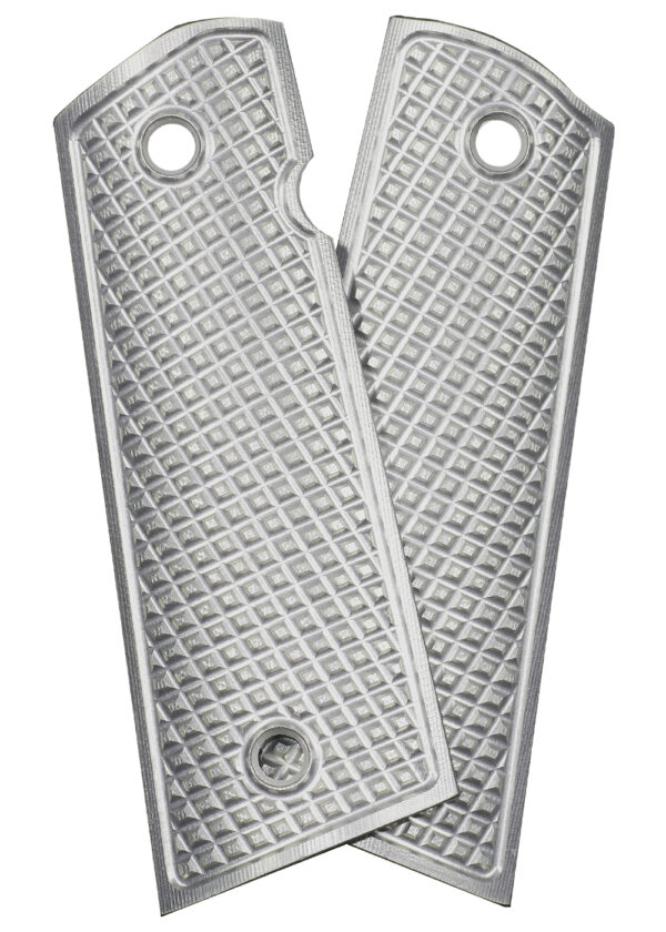 ALUMAGRIPS 1911 PISTOL GRIPS GRATER SILVER MAGWELL