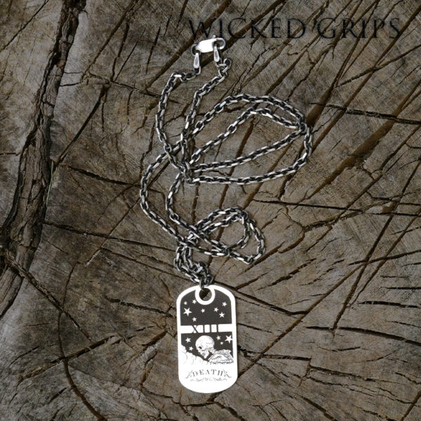 EXCLUSIVE DEATH TAROT DOG TAG STERLING SILVER NECKLACE
